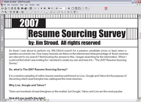 2007 Resoume Sourcing Survey