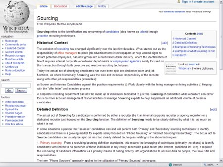 Wikipedia on Sourcing