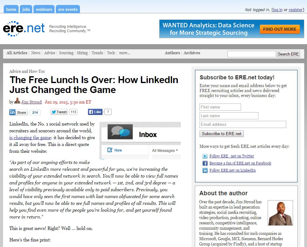 Jim Stroud discusses linkedIn's policy changes