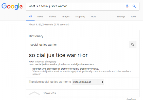 Definition of social justice warrior