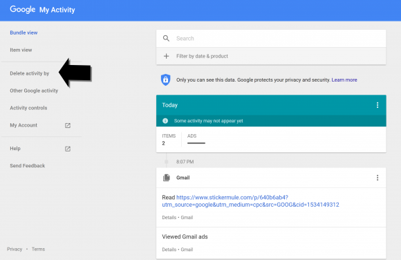 Delete and archive your Google history